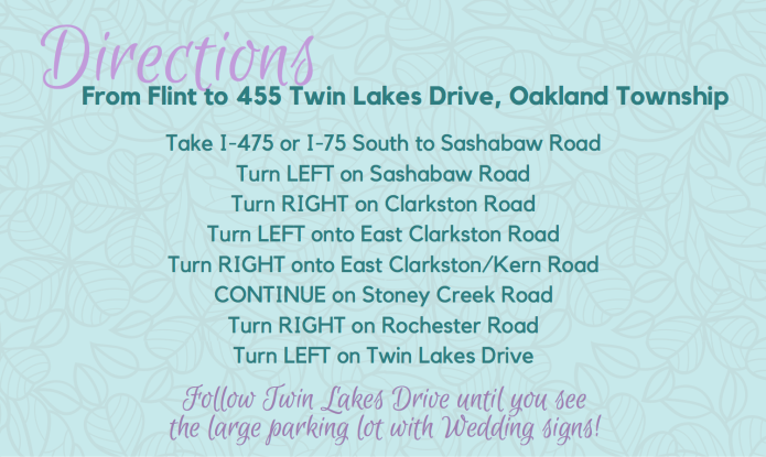 Directions to Ceremony